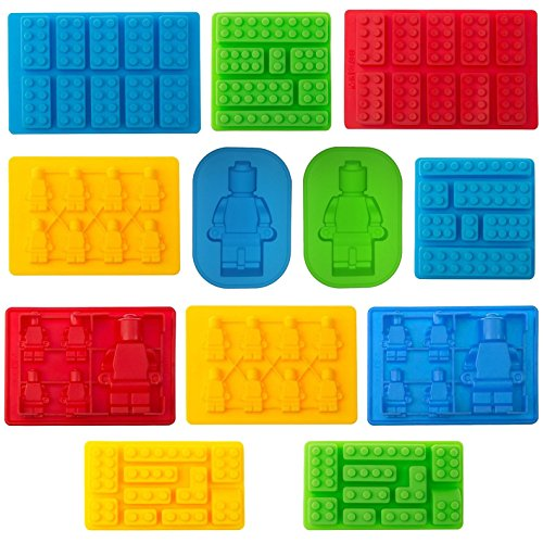 TYH Supplies Set of 12 Candy Molds For Lego Lovers Chocolate Molds Ice Cube Molds Silicone Baking Molds Premium Silicone Molds - Building Blocks and Robots (12)