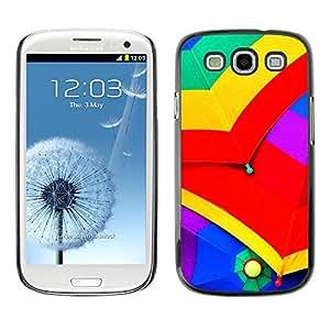 Caucho caso de Shell duro de la cubierta de accesorios de protección BY RAYDREAMMM - Samsung Galaxy S3 I9300 - Umbrellas Colorful Rain Sky Red Yellow Green