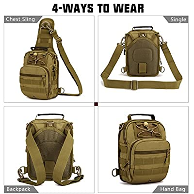 IDOGEAR Tactical Sling Bag Pack Small EDC Molle Assault Range Rucksack Military Army Shoulder Daypack Outdoor Rover Sling Backpack Chest Pack with USA Flag Patch