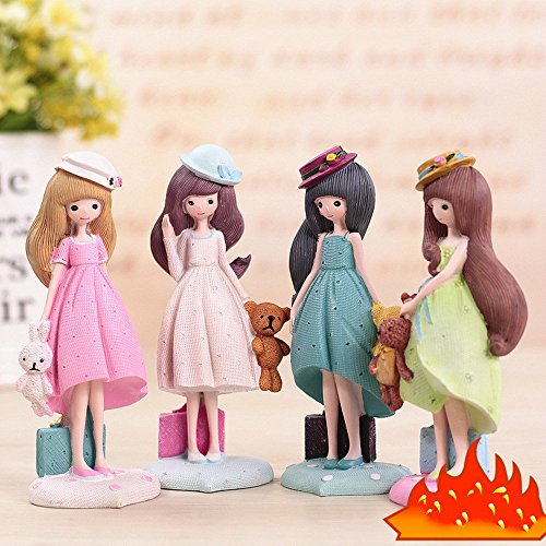 LLichao000 Girl Decorative Resin Artwork Gift Home Desktop Display Gift 1 Set (4) 5.5x5.5x14.5cm Living Room Decoration from LLichao000