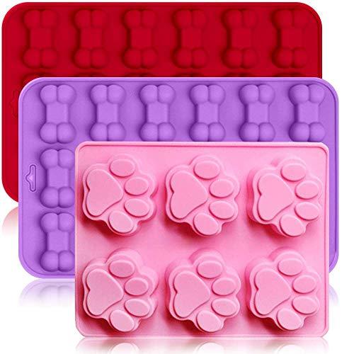 3-pack siliconen ijsvormen trays met puppy hond poot en botvorm, bakvormen maker DIY chocoladesuikergoed bakvorm – roze…