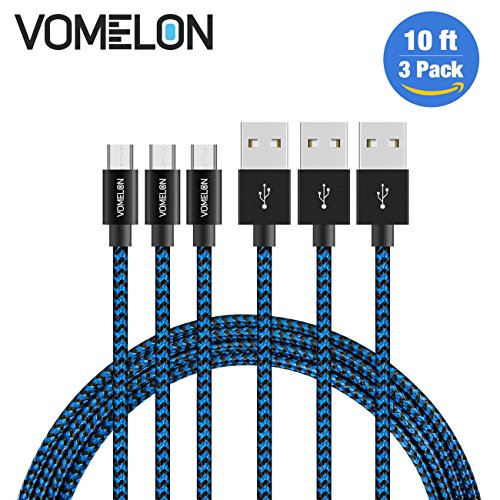 Micro USB Cable, 3Pack 10FT Nylon Braided Tangle-Free - Android Samsung Tablet