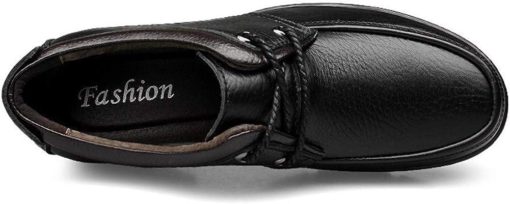 Mocassins Classiques Fashion Business Oxford for Hommes Mocassins Chaussures Tirez sur Le Style en Cuir Véritable Expérimenté Cousu Anti Slip Bout Rond Black Lace Up