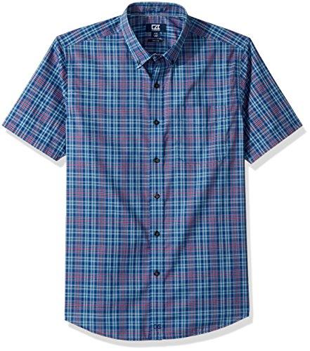 (Cutter & Buck Men's Medium Plaid Easy Care Button Down Short Sleeve Shirts, Nautical Isaac, XX-Large)
