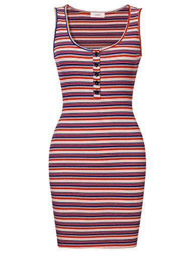 Sleeveless Knit Cocktail Mini (Lyoye Women's Slim Sleeveless Henley Neck Knit Stretchable Striped Print Tank Dress Blue M)