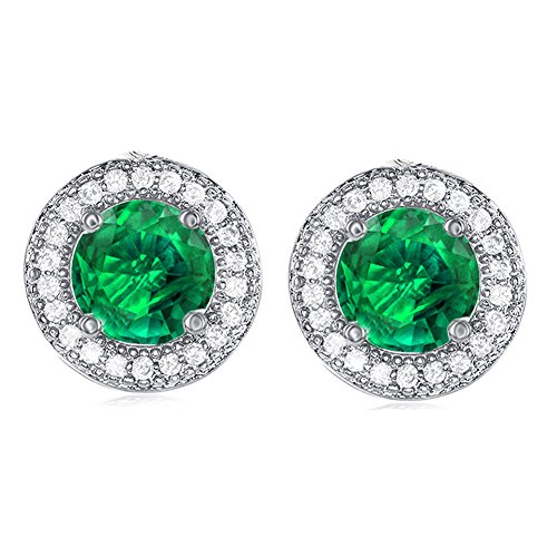 Cate & Chloe Mariah 18k Gold Plated Round Cut Green Emerald CZ Halo Stud Earrings, Sparkling Cluster Emerald Stud Earring Set w/Solitaire Round Cut Gemstone, Wedding Anniversary Jewelry MSRP - 150 - Mom Set Earrings