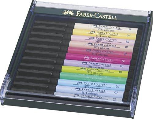 Faber-Castell Pitt - Estuche de 12 rotuladores, punta pincel, colores pastel: Amazon.es: Oficina y papelería