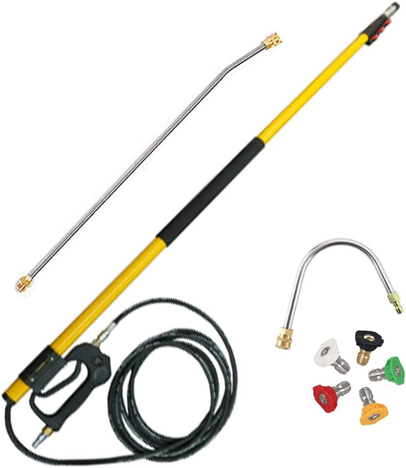 Gutter Cleaner for Pressure Washer - Power Washer Gutter Cleaning Tools, 4000PSI Telescoping Spray Extension Wand, Window and Wall Cleaner Kit