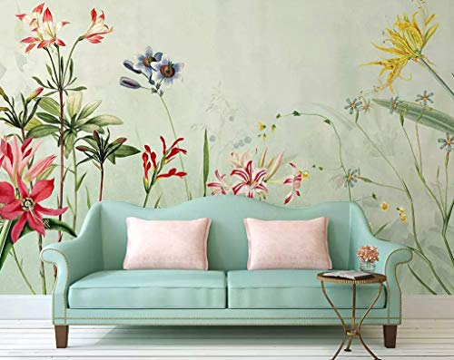 Murwall Floral Wallpaper Colorful Flower Wall Mural Lily Flower Wall Art Bohemian Home Decor Cafe Design Kitchen Wall Decor Living Room
