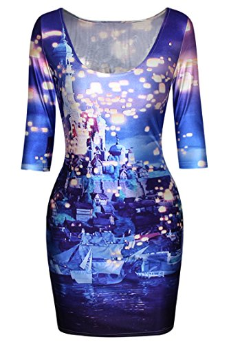 Pink Queen Womens Starry Night Castle Print Half Sleeve Casual Bodycon (Pretty Dresses For Teens)