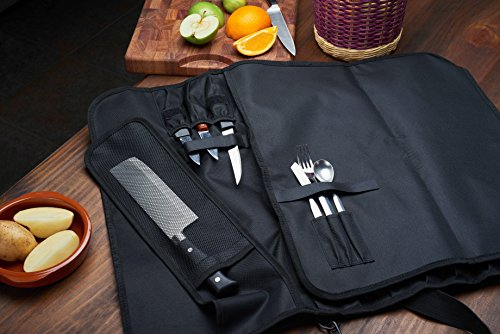 EVERPRIDE Knife Roll Bag For Chefs (16 Slots) Holds 12 Knives, 1 Meat Cleaver, And 3 Utensil Pockets. Top Quality Portable Chef Knife Case - Includes Handle, Shoulder Strap & Business Card Holder