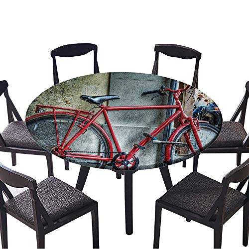 """Round Premium Tablecloth red Bicycle Against a Wall in Florence,Italy Stain Resistant 63""""-67"""" Round (Elastic Edge)"""