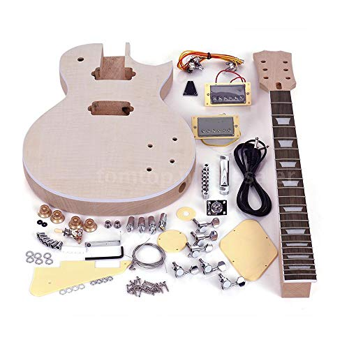 FidgetGear Unfinished LP Style Electric Guitar DIY Kit Top-Solid Mahogany Body Neck Gift from FidgetGear