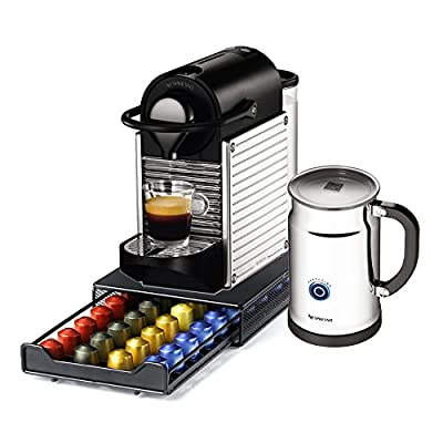 Nespresso Pixie C60 Chrome Espresso Machine With Aeroccino Plus Milk Frother and Bonus 40 Capsule Storage Drawer