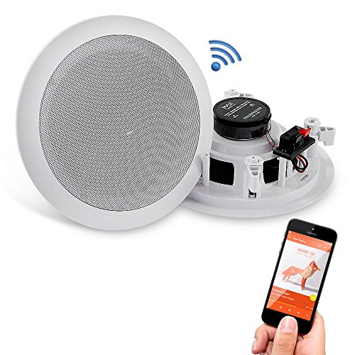 "Pyle 5.25"" Pair Bluetooth Flush Mount In-wall In-ceiling 2-Way Speaker System Quick Connections Changeable Round/Square Grill Polypropylene Cone & Polymer Tweeter Stereo Sound 150 Watt (PDICBT552RD) by Pyle"