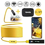 Wireless Endoscope, Snake Camera Inspection Camera Kit 1200P HD IP68 Waterproof in Semi-Rigid Cable for Android and IOS Smartphone with Carrying Case (Yellow 11.5FT)