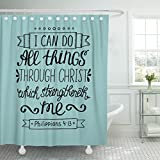 VaryHome Shower Curtain Hand Lettering Can All Things Through Christ Biblical Christian in the New Testament Scripture Modern Waterproof Polyester Fabric 60 x 72 Inches Set with Hooks