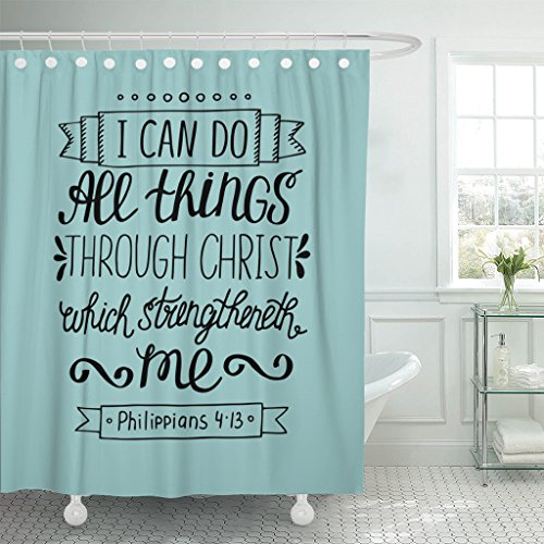 VaryHome Shower Curtain Hand Lettering Can All Things Through Christ Biblical Christian in the New Testament Scripture Modern Waterproof Polyester Fabric 60 x 72 Inches Set with Hooks by VaryHome