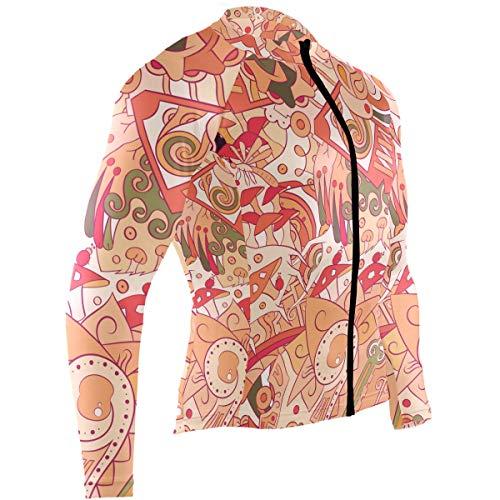 Men's Cycling Jerseys Mehndi Doodle Design Quick Dry Bike Jacket Long Sleeve Shirt Tops Zipper Pockets