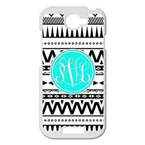 Aztec Series Black and White Personality Design Cyan Monogram Custom Luxury Cover Case with Plastic For HTC One S(White)