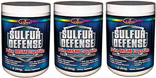 7 Lights Sulfur Defense, Pure 99.9% MSM (Methylsulfonylmethane) Crystals, 1 Pound, 3-Pack -