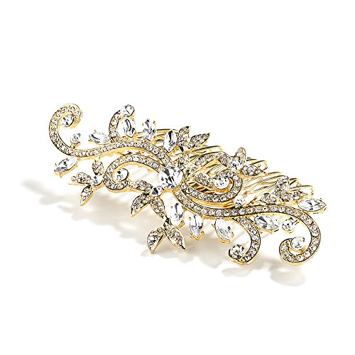 Yellow Scroll - Mariell Bridal, Prom or Wedding Crystal Hair Comb in Gold with Vintage Scrolls