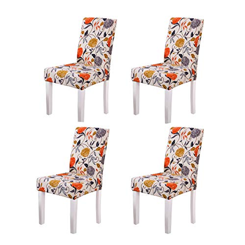 YEESSION Set of 4 Spandex Fabric Stretch Removable Washable Short Dining Chair Protector Cover Slipcover with Printed Pattern(Style 05)