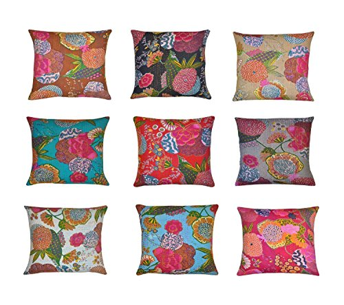 Indian kantha Throw Cushion Cover,Indian Home Decor Pillow Cases,Indian Decorative Cushion Cover,Indian Floral Print Cushion Cover,Designer Toss Cover, Bed Decor Sofa Cover -