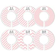 Delicush Baby Closet Dividers, Stripe, Chevron, Set of 6 Size Organizers, Nursery Closet Organizers, Baby Size Dividers, Glossy Finish, Boy, Girl (Pink)
