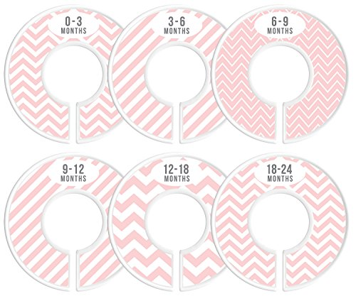 Delicush Baby Closet Dividers, Stripe, Chevron, Set of 6 Size Organizers, Nursery Closet Organizers, Baby Size Dividers, Glossy Finish, Boy, Girl (Pink) by DELICUSH