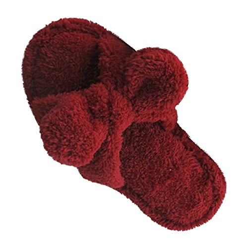 Eastlion Women's and Girl's Home Floor Soft Comfortale Wear Indoor Anti-Slip Plush Bow Slippers Shoes Wine Red tRldqXVTe