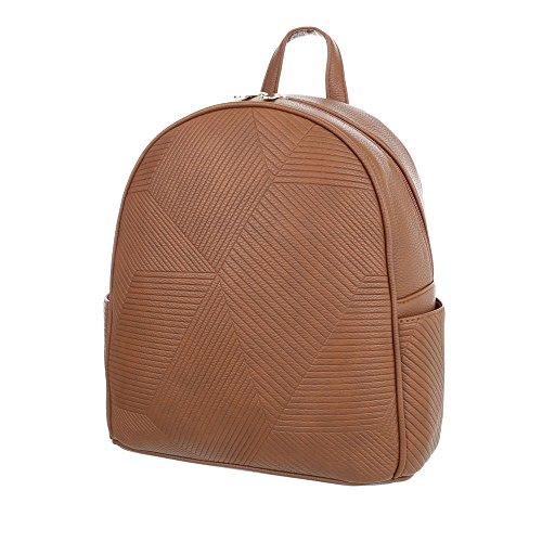 iTal-dEsiGn Damentasche Mittelgroße Rucksack In Used Optik Kunstleder TA-M1097 Camel 1uppx