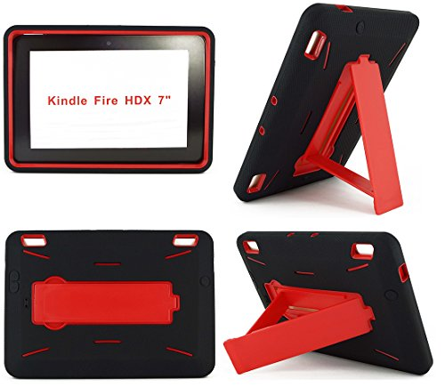 NEM Amazon Kindle Fire HDX 7 Case (NOT Kindle Fire HD 7) Heavy Duty Hard Hybrid Protective Air Cushion Horizontal & Vertical Kickstand Tablet Case Cover for Amazon Fire HDX - Mobile T Deerbrook