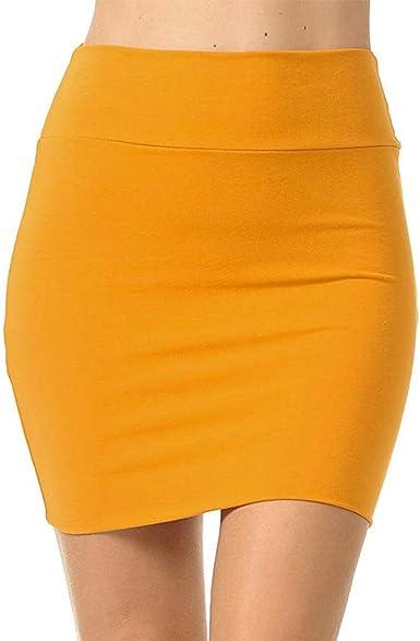 beautyjourney Falda lápiz Bodycon para Mujer Minifalda de Color ...