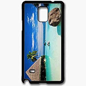 Unique Design Fashion Protective Back Cover For Samsung Galaxy Note 4 Case Beautiful Beach Resort View Nature Black