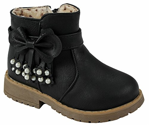 Baby Girls Warm16F Black Bow Tie Zip/ Lace-up Sweater Cuff Mid Calf Toddler Infant Dress Boots-6