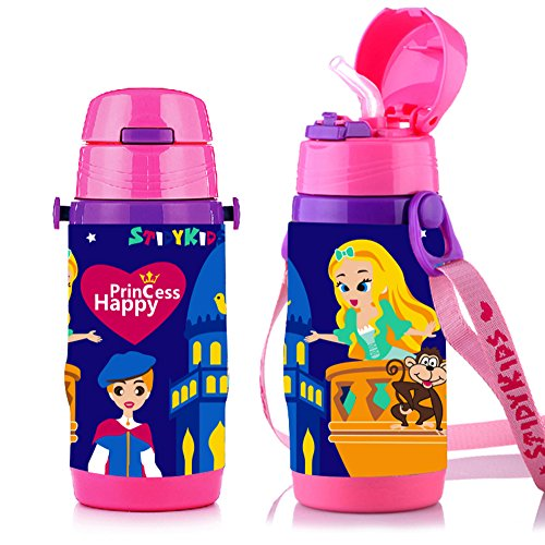 Drink Princess Bottle - Vacuum Insulated Stainless Steel Water Bottle With Straw, 12-Ounce, Sports Water Bottle For Kids (Pink Princess)