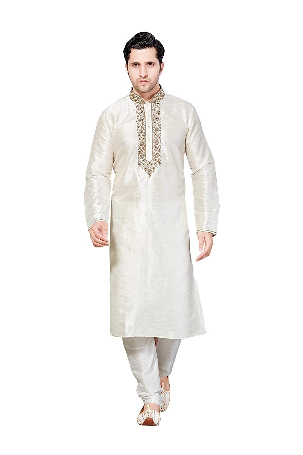 Mens Kurta Pajama Wedding Art Dupion India Party Wear Set of 2. P-R-37533
