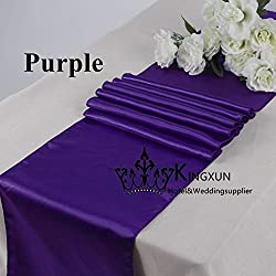 ELINA'S Pack OF10 Wedding 12 x 108 inch Satin Table Runner Wedding Banquet Decoration- (PURPLE2)