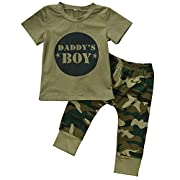 ZTICRTIO Baby Daddy's Boy Girls Clothes Short Sleeve T-Shirt Tops+ Camouflage Long Pants Outfit Set (12-18 Months, Daddy's Boys)