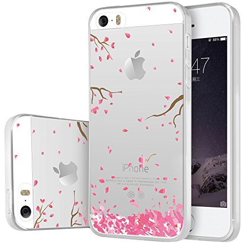 Coque iPhone SE , ivencase iPhone 5 5S SE Coque Housse Etui TPU Silicone Clair Transparente Ultra Mince Anti-Scratch Back Case Cover pour iPhone 5 5S SE