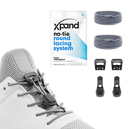 Xpand Quick Release Round-Lacing No Tie Shoelaces System with Elastic Laces - One Size Fits All Adult and Kids Shoes (Hiking Shoes Stretch)