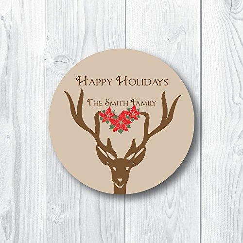 Poinsettia Deer Christmas Sticker (Poinsettia Deer)