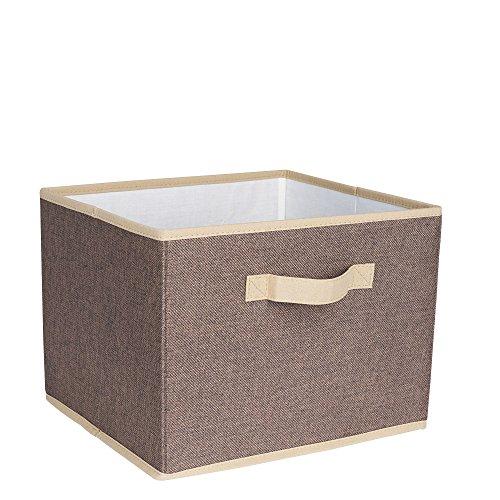 Household Essentials Open Storage Bin with Cloth Handles, Coffee Linen, Single Unit,