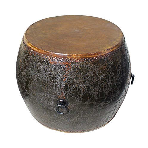 Distressed Black Lacquer Oriental Chinese Drum Table Acs2768 ()