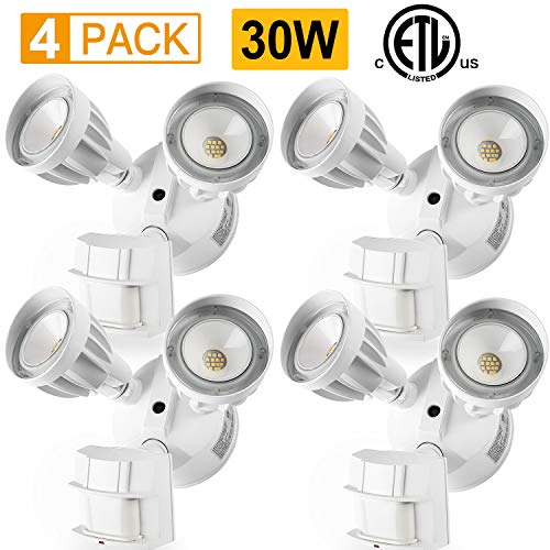 4 Pack Amico 30W LED Security Light Motion Outdoor, Motion Sensor Light Outdoor, Dual-Head, 2550LM 5000K Waterproof IP65, ETL Flood Lights