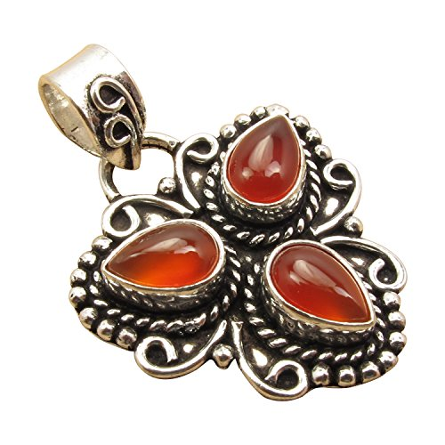 Vintage Style, 925 Sterling Silver Plated Jewelry, 3 Drop GEMSTONE Handcrafted PENDANT Made In ()