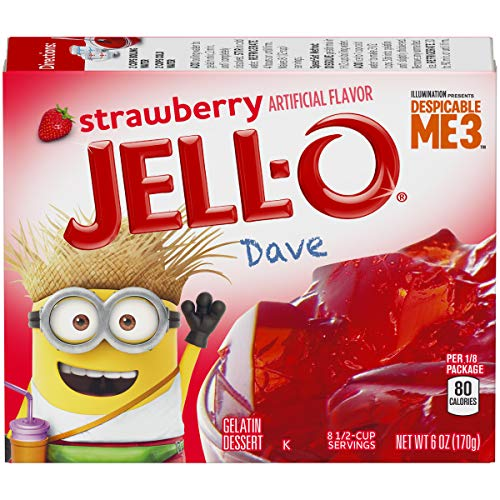 (JELL-O Strawberry Despicable Me Gelatin Dessert Mix (6 oz Boxes, Pack of 6))