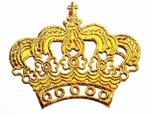 (HHO Gold Crown Imperial King Queen Embroidered Patch Embroidered DIY Patches, Cute Applique Sew Iron on Kids Craft Patch for Bags Jackets Jeans)