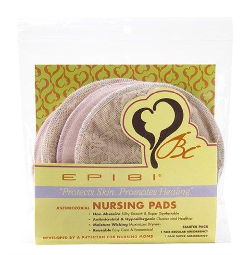 Epibi Coussinets d'allaitement lavables:, antimicrobiens - Starter Pack: 1 Paire d'absorption possible et 1 paire d'absorption régulière (Rose & Lace Nudité)